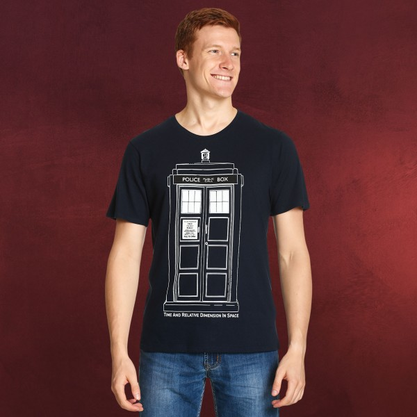 Doctor Who - Tardis Outline T-Shirt blau