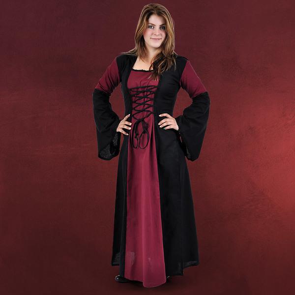 Mittelalter Kleid Falconia bordeaux-schwarz