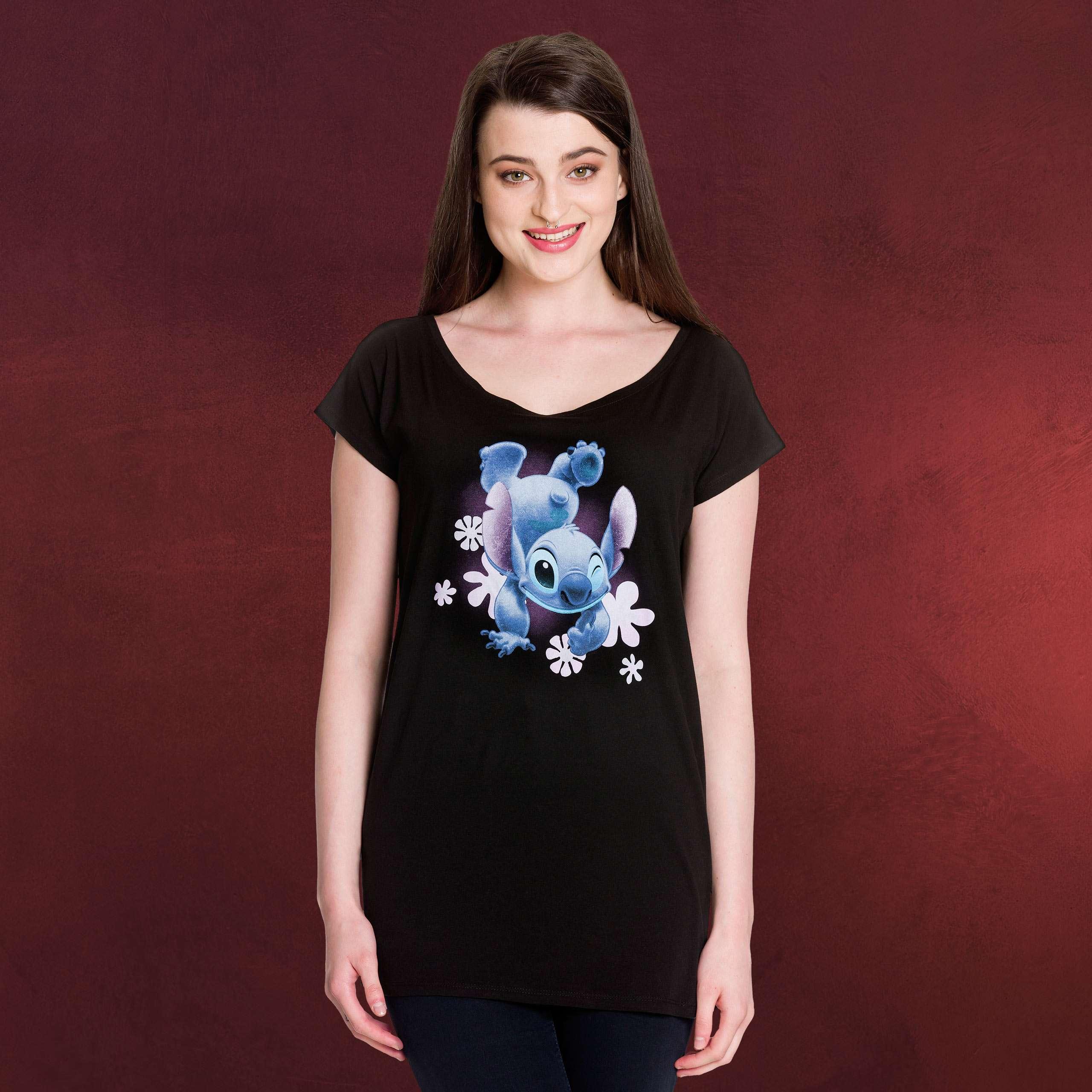 Lilo & Stitch Stitch T Shirt Damen Loose Fit schwarz