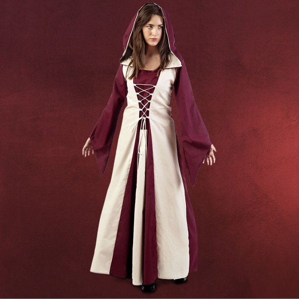 Mittelalter Kleid Ella rot-beige