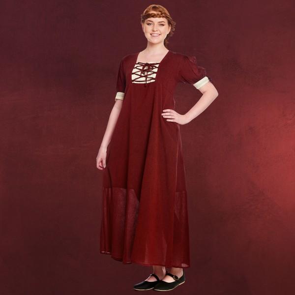 Mittelalter Sommer Kleid Lysa rot-beige