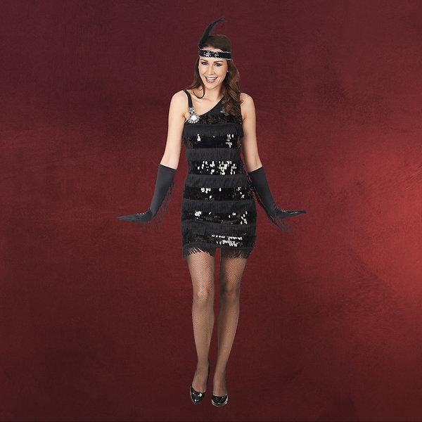 Charleston Kleid mit Pailletten schwarz