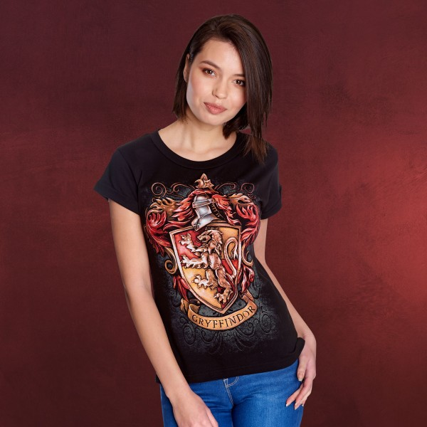 Harry Potter - Gryffindor Wappen T-Shirt Damen schwarz