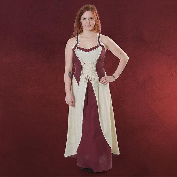Mittelalter Trägerkleid mit Schmuckborte natur rot