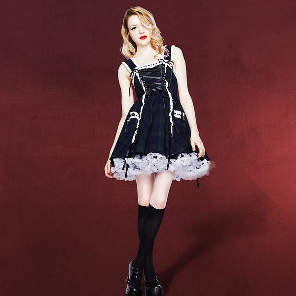 Mini-Kleid Schotten Karo Design grün-schwarz