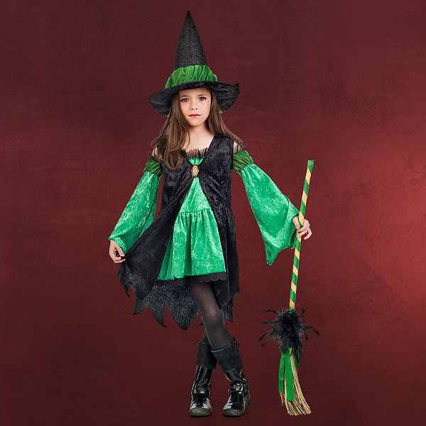 Kleine Hexe - Kostüm Kinder grün
