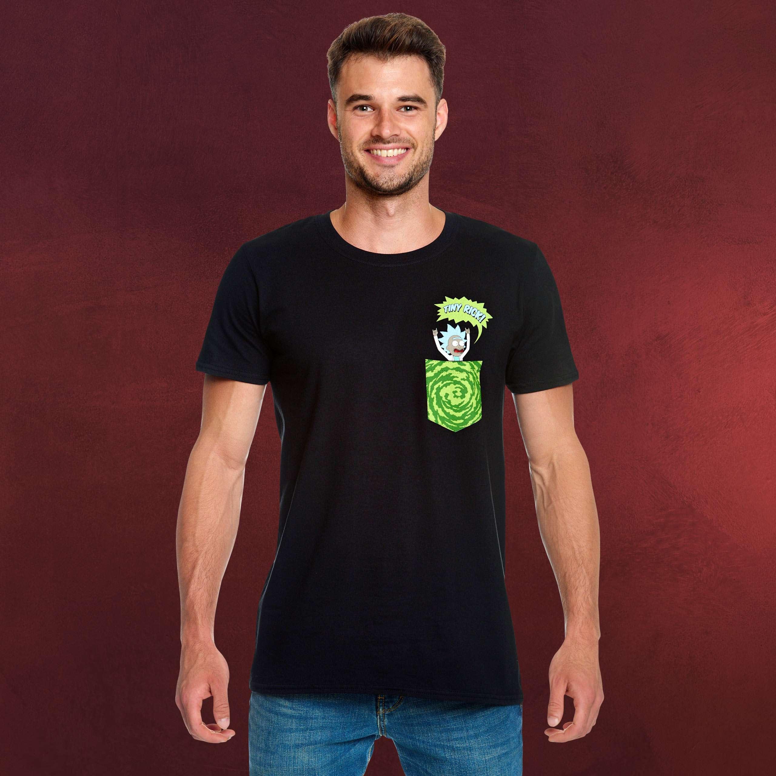 Neon T-Shirt schwarz Rick and Morty Rick