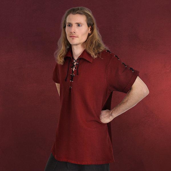 Mittelalterhemd Kurzarm mit Schnürung rot