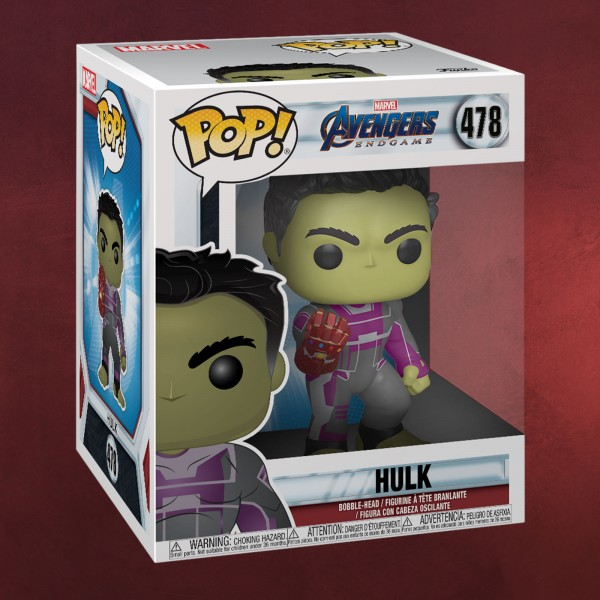 Avengers - Hulk mit Nano Gauntlet Endgame Funko Pop Wackelkopf-Figur 16 cm