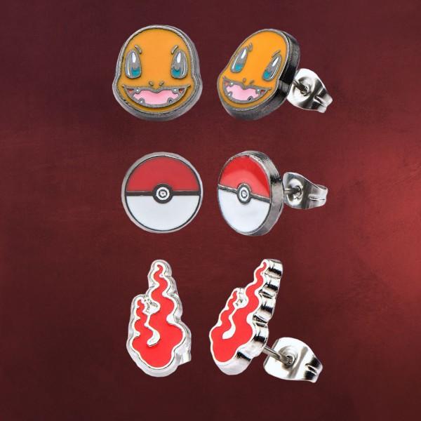 Pokemon - Glumanda Ohrschmuck-Set 3tlg.