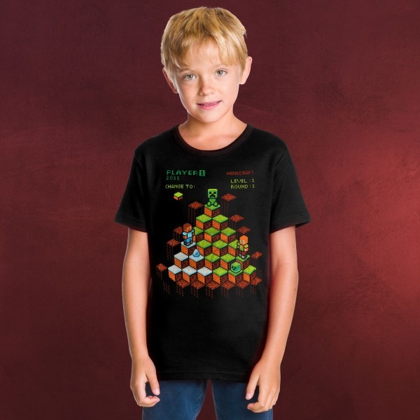 Minecraft - Miner Mountain Retro T-Shirt Kinder schwarz