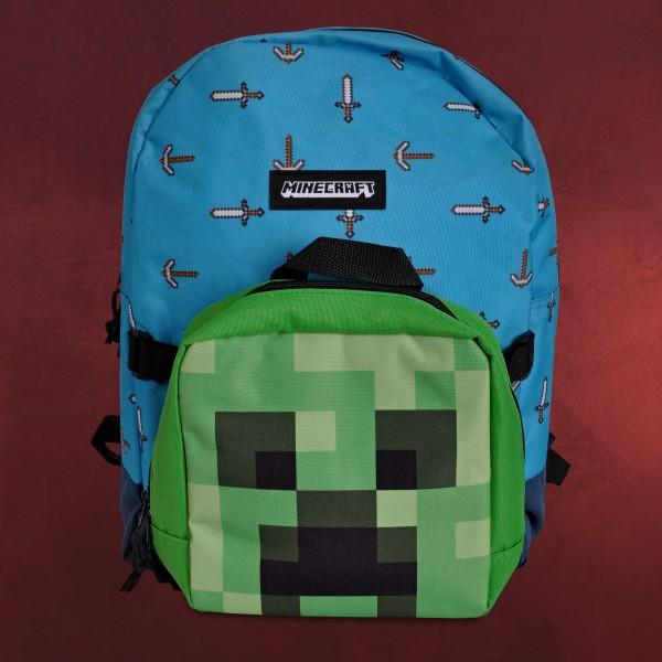 Minecraft - Sword & Axe Rucksack mit Creeper Mini Bag
