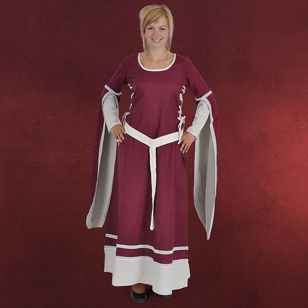 Mittelalter Kleid Kungundt mit seitlicher Schnürung bordeaux-natur
