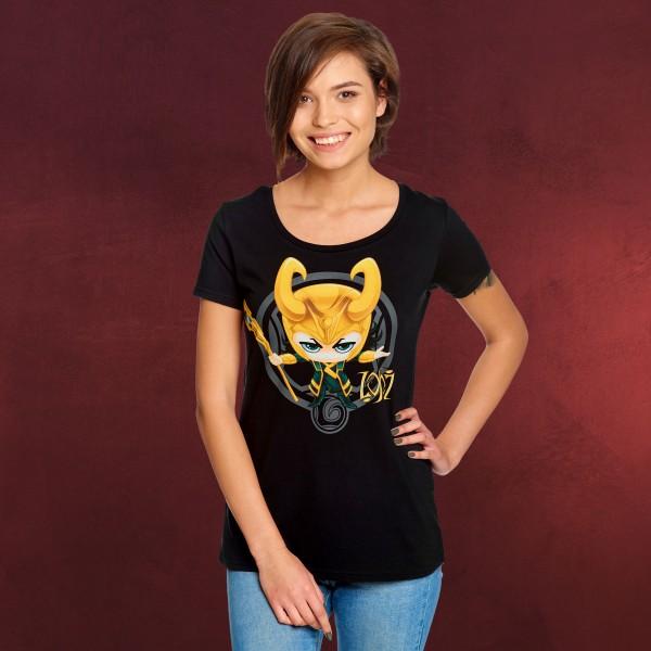 Loki Chibi T-Shirt Damen schwarz