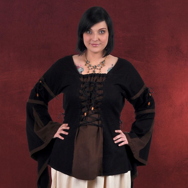 Mittelalter Bluse im Leinen Look schwarz-braun
