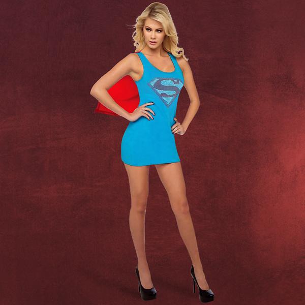Supergirl - Kostümkleid mit Umhang und Glitzerlogo