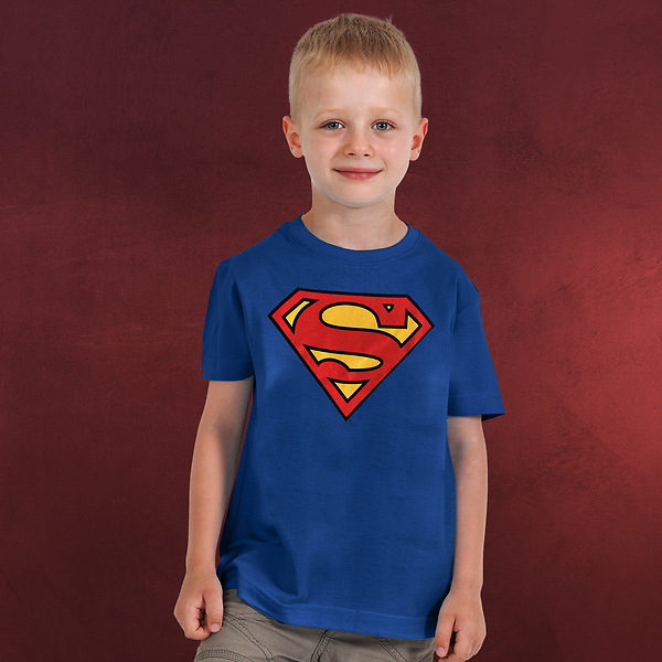 Superman Logo Kinder T-Shirt blau