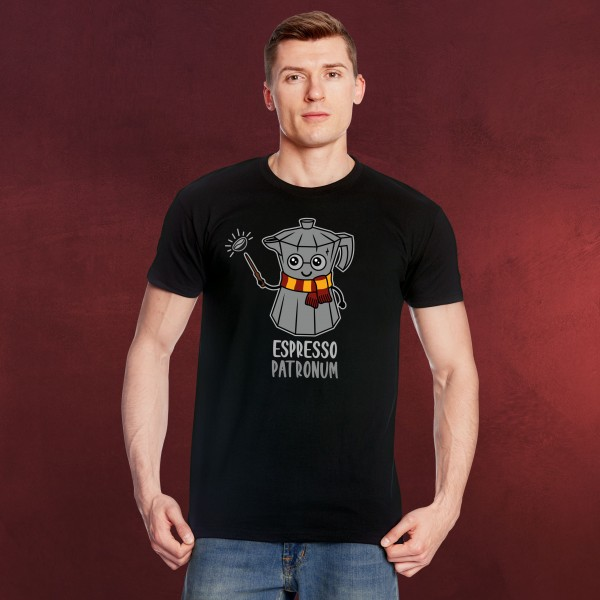Espresso Patronum T-Shirt für Harry Potter Fans schwarz