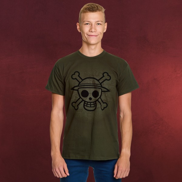 One Piece - Skull With Map T-Shirt grün