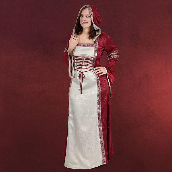 Mittelalterkleid Klara natur-bordeaux