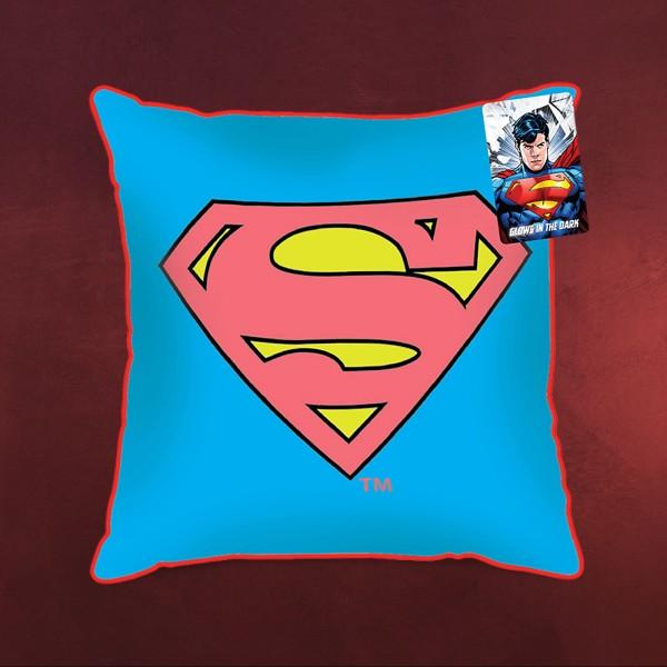 Superman - Glow Logo Kissen blau