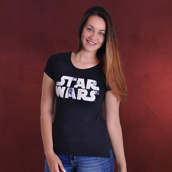 Star Wars - Distressed Logo Girlie Shirt schwarz