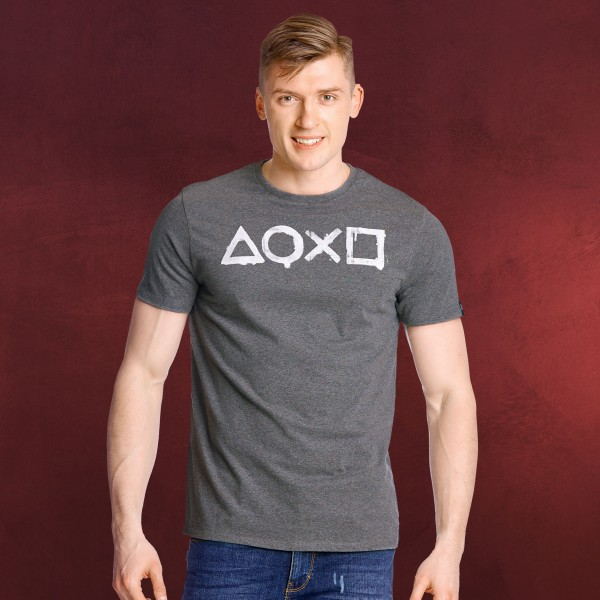 PlayStation - Buttons T-Shirt grau
