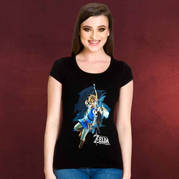 Zelda - Breath of the Wild Link Girlie Shirt schwarz