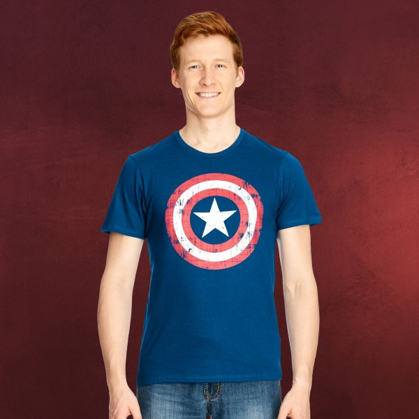 Captain America Logo Shield T-Shirtblau