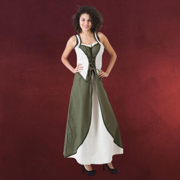 Mittelalter Trägerkleid mit Schmuckborte grün-natur
