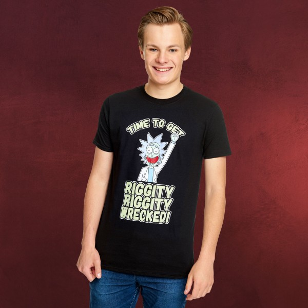Rick and Morty - Riggity Wrecked T-Shirt schwarz
