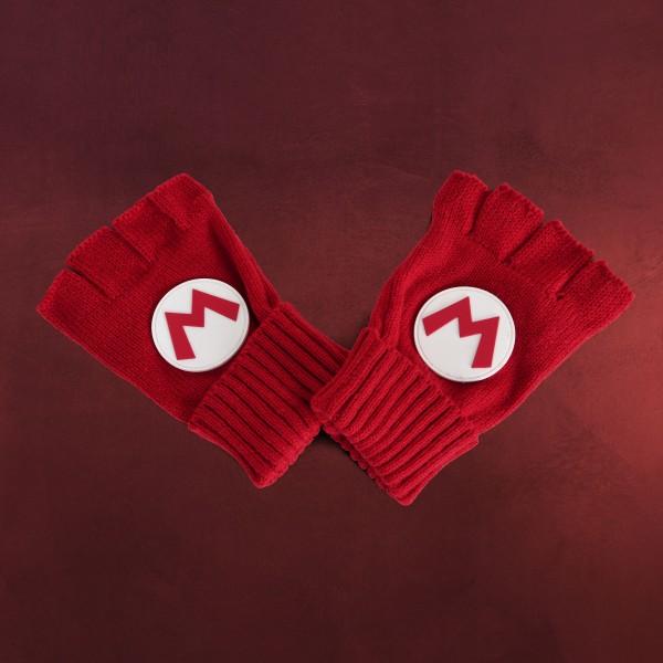 Super Mario - Fingerlose Logo Handschuhe rot