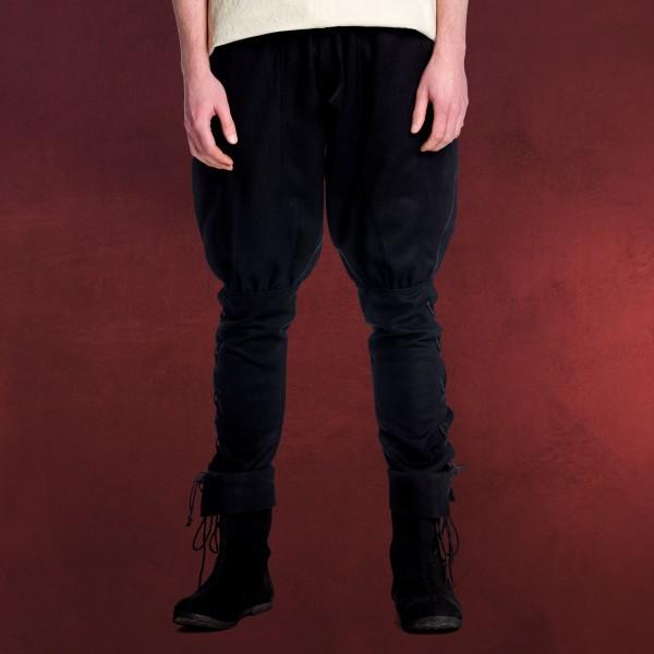 Mittelalter Wollhose mit Unterbeinschnürung schwarz