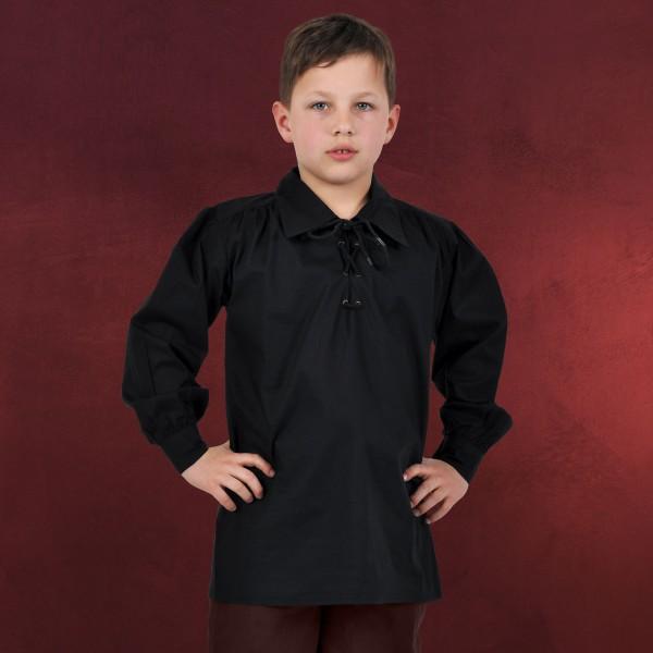 Mittelalter Hemd für Kinder schwarz