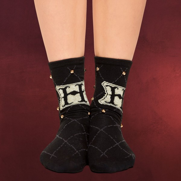 Harry Potter - Hogwarts Logo Socken mit Nieten schwarz