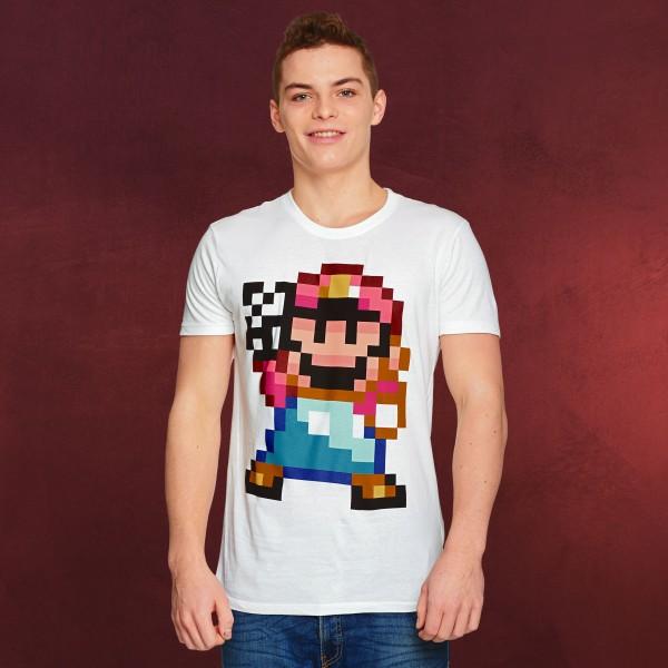 Super Mario - Peace Pixel T-Shirt weiß