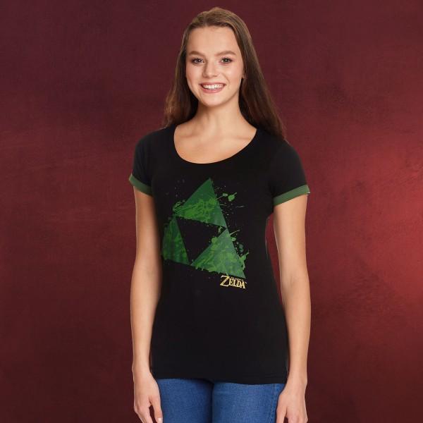 Zelda - Triforce Splatter T-Shirt Damen schwarz
