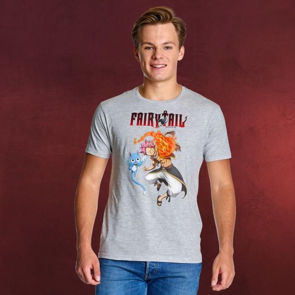 Fairy Tail - Natsu und Happy T-Shirt grau