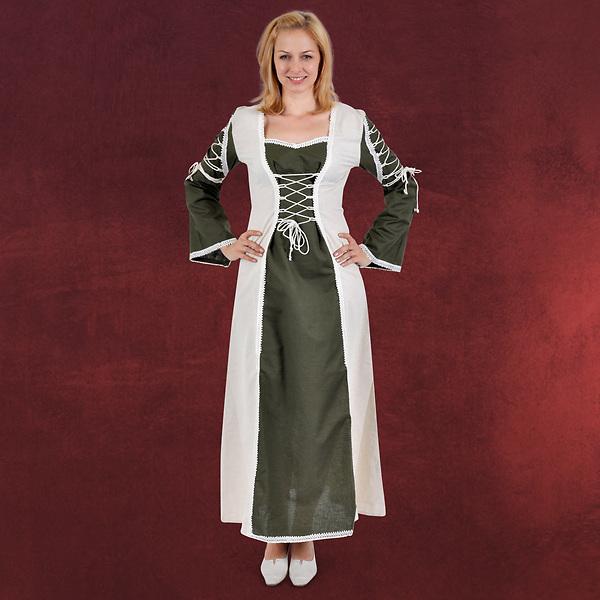 Magdalena Mittelalter Kleid oliv-natur