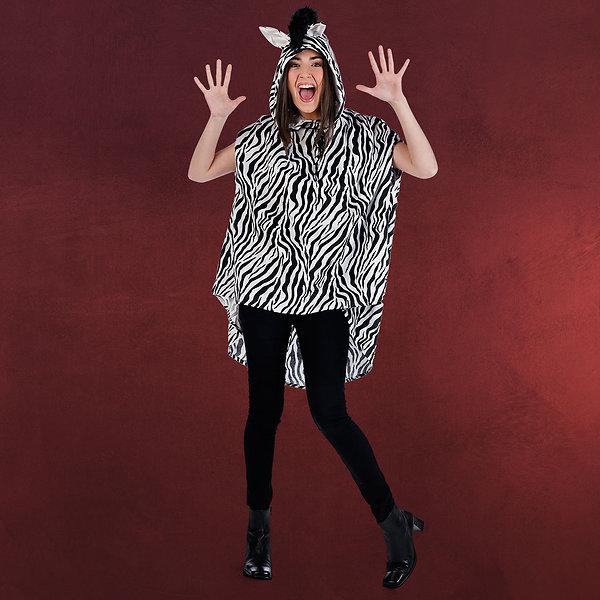 Zebra Poncho - Kostüm Damen