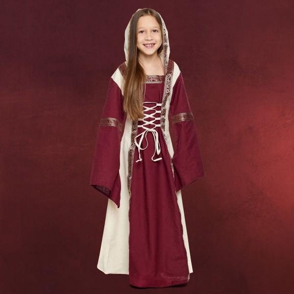 Mittelalter Saphiria Kleid Kinder mit Kapuze rot-natur