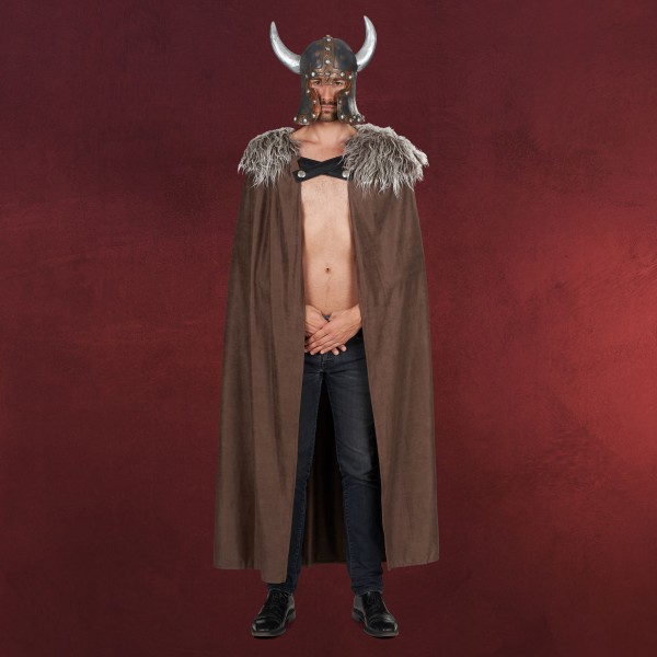 Wikinger Kostüm Umhang mit Fellbesatz