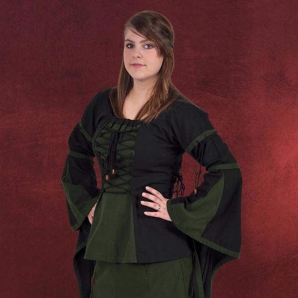 Mittelalter Bluse im Leinen Look schwarz-grün