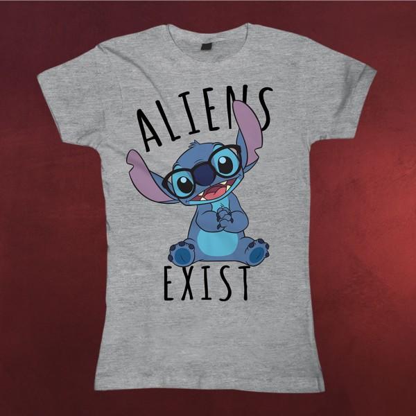 Lilo & Stitch - Aliens Exists T-Shirt Damen grau