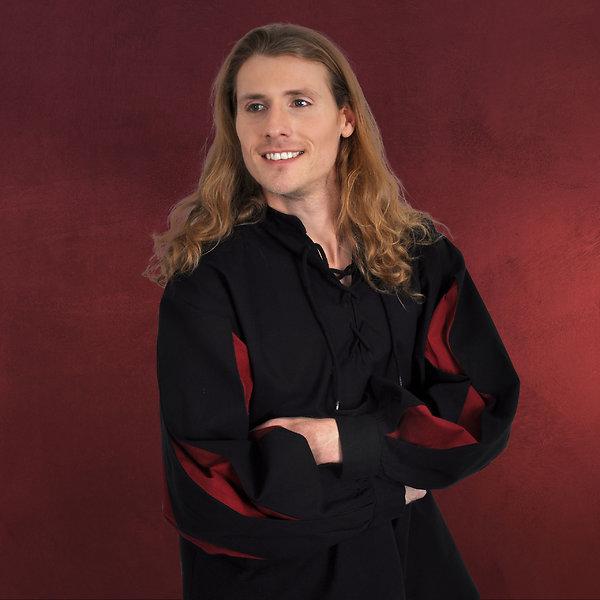 Mittelalter Landsknecht Hemd schwarz rot