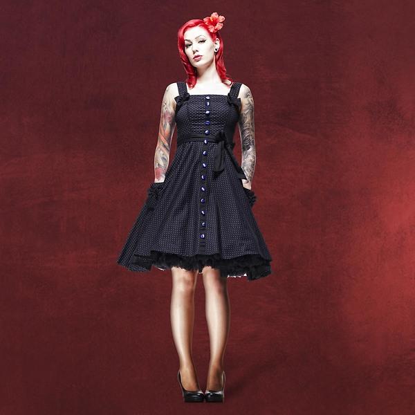 Rockabilly-Kleid Gery schwarz-lila