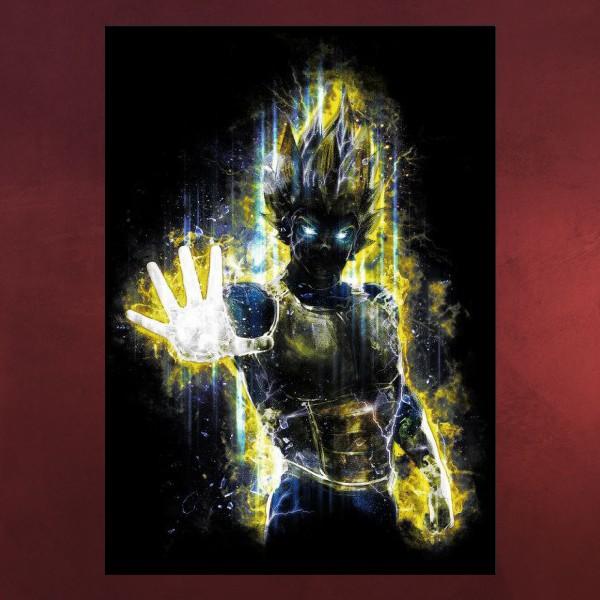 Vegeta Super Saiyajin Metall Poster für Dragon Ball Fans