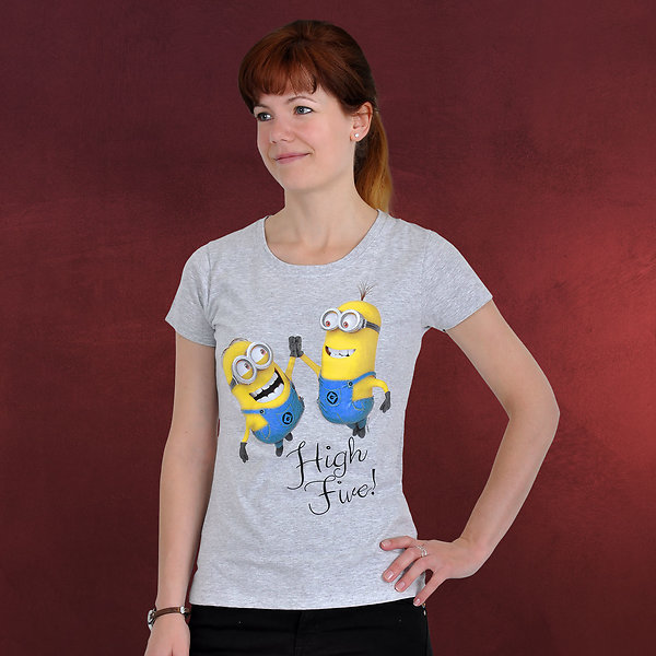 Minions - High Five Girlie-Shirt grau