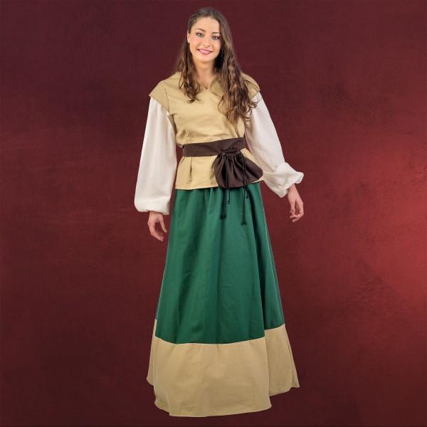 Mittelalter Damen Kostüm Juana beige-grün