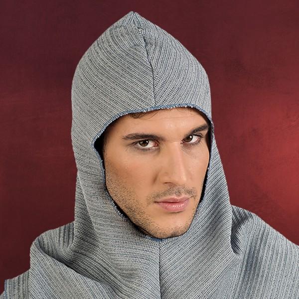 Mittelalter Herren Kapuze grau